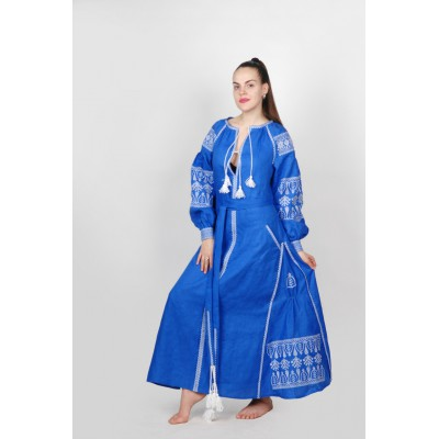 Boho Style Ukrainian Embroidered Maxi Broad Dress Blue with White Embroidery