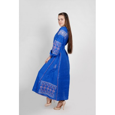 Boho Style Ukrainian Embroidered Maxi Broad Dress Blue with Red Embroidery