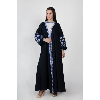"Boho Style Embroidered Costume (dress+blouse+pants+scarf) ""Arabica"" Black"