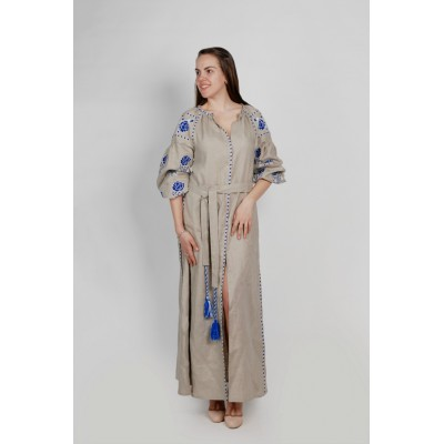 "Boho Style Ukrainian Embroidered Maxi Broad Dress ""Roses"" Grey with White/Blue Embroidery"