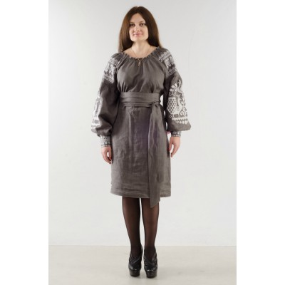 "Boho Style Ukrainian Embroidered Classic Grey Dress ""Sun"""
