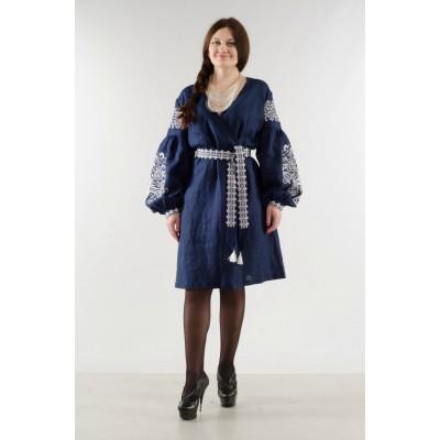 "Boho Style Ukrainian Embroidered Classic Blue Dress ""Sun"""