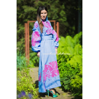 Boho Style Embroidered Maxi Dress Blue with Pink Embroidery