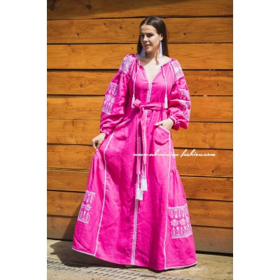 Boho Style Embroidered Long Dress Pink with White Embroidery