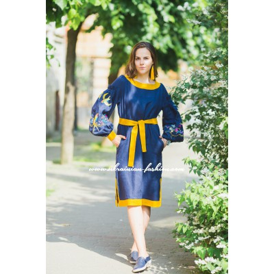 "Boho Style Embroidered Classic Dress ""Summer Birds"" Navy/Orange"