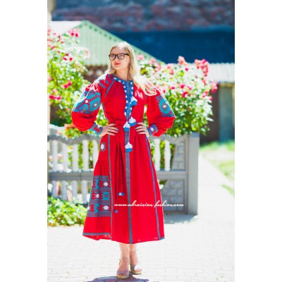 Boho Style Embroidered Midi Dress Red with Blue/White Embroidery