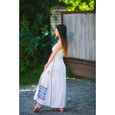 Boho Style Embroidered Maxi Skirt White with Blue Embroidery