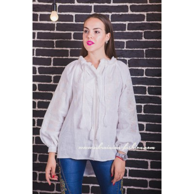 Boho Style Embroidered Blouse White with White Mono Embroidery