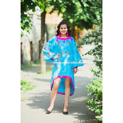 "Boho Style Embroidered Assimetric Dress ""Summer Birds"" Turquoise/Pink"
