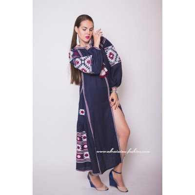 Boho Style Embroidered Maxi Dress Navy Blue with Maroon/White Embroidery