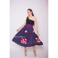 Boho Style Embroidered Maxi Skirt Navy Blue with Pink/Yellow Embroidery