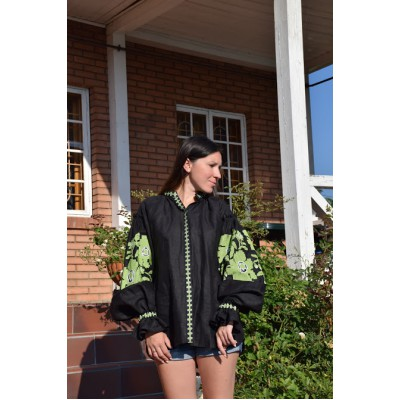 Boho Style Embroidered Blouse Black with Neon Green/White Embroidery