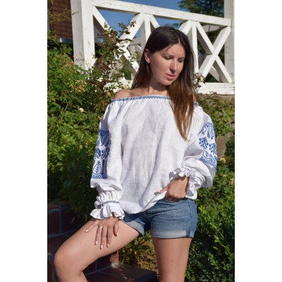 Boho Style Embroidered Offshoulder Blouse White with Blue Embroidery