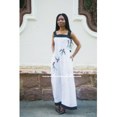 "Boho Style Embroidered Sleeveless Dress ""Summer Birds"" White/Black"