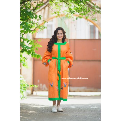 "Boho Style Embroidered Loong Dress ""Summer Birds"" Orange/Green"
