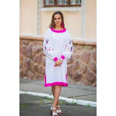 "Boho Style Embroidered Midi Dress ""Summer Birds"" Pink/White"