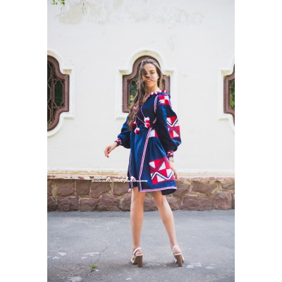 Boho Style Embroidered Classic Dress Navy with Red/White Embroidery