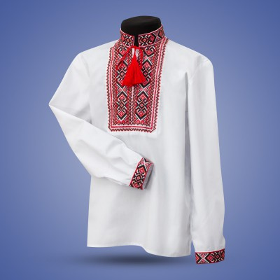 "Embroidered shirt for boy ""Strong Cossack"" red"