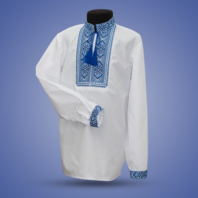 "Embroidered shirt for boy ""Strong Cossack"" blue"