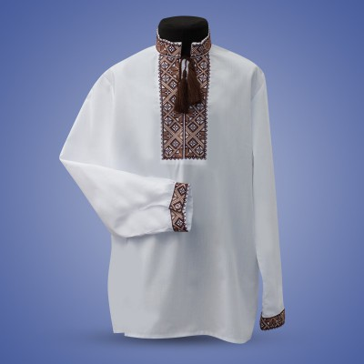 "Embroidered shirt for boy ""Strict Ornament"" brown"