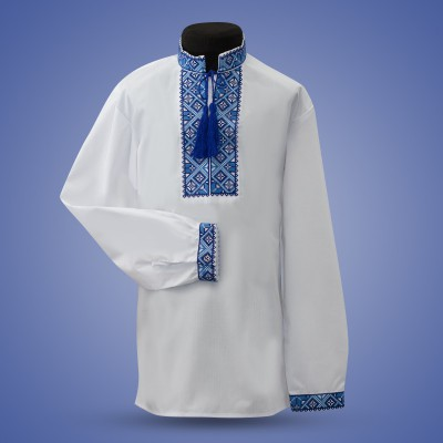 "Embroidered shirt for boy ""Strict Ornament"" blue"