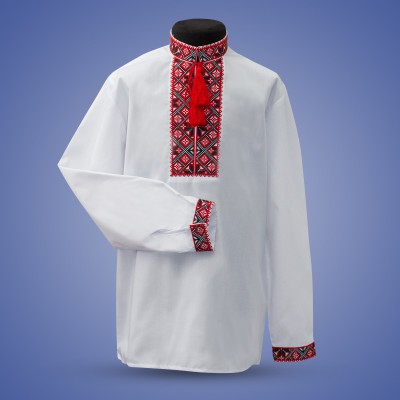 "Embroidered shirt for boy ""Strict Ornament"" red"