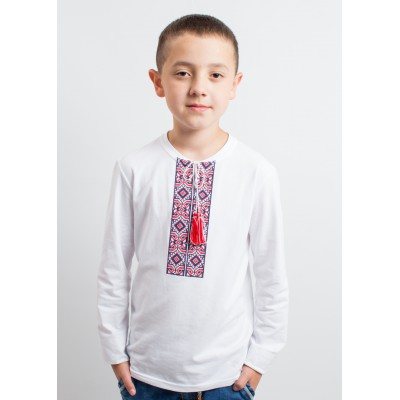 "Embroidered t-shirt with long sleeves ""Labyrinth"" red/white"