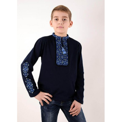"Embroidered t-shirt with long sleeves ""Ivanko"" blue"
