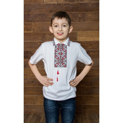 "Embroidered t-shirt with short sleeves ""Podilla"" red"
