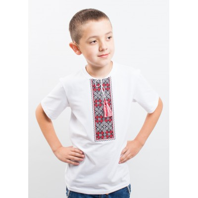 "Embroidered t-shirt with short sleeves ""Colours"" red/white"