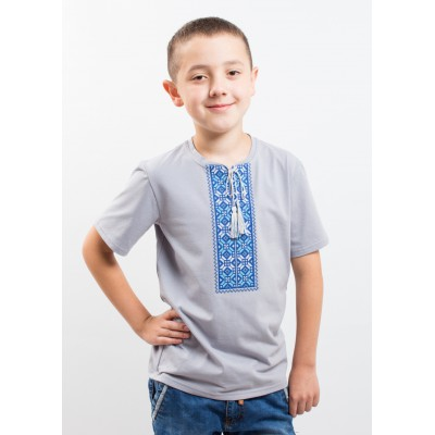 "Embroidered t-shirt with short sleeves ""Colours"" blue/gray"