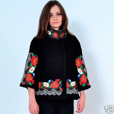 "Embroidered coat ""Lace"" black"