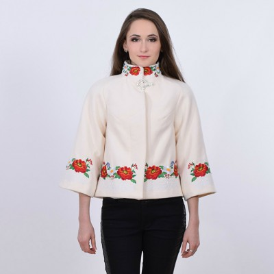 "Embroidered coat ""Lace"" white"