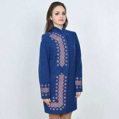 "Embroidered coat ""Chestnut"" blue"