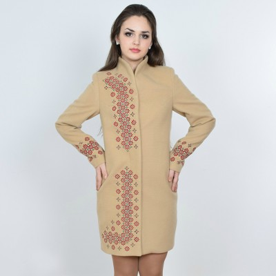 "Embroidered coat ""Chestnut"" beige"