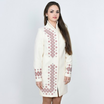 "Embroidered coat ""Chestnut"" white"