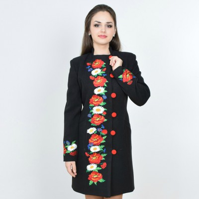 "Embroidered coat ""Flower Fantasy"" black"