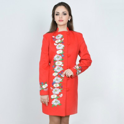 "Embroidered coat ""Flower Fantasy"" red"