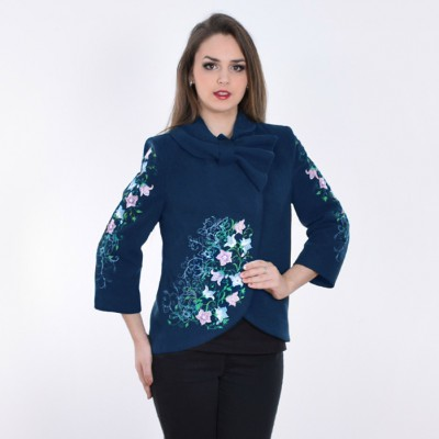 "Embroidered coat ""Bluebell"" dark blue"