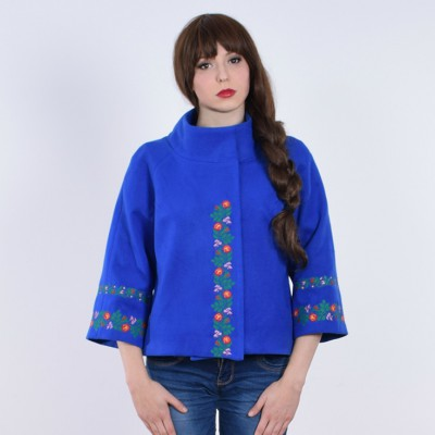 "Embroidered coat ""Flower Lace"" blue"