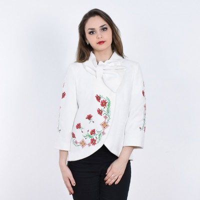 "Embroidered coat ""Flower Magic"" white"