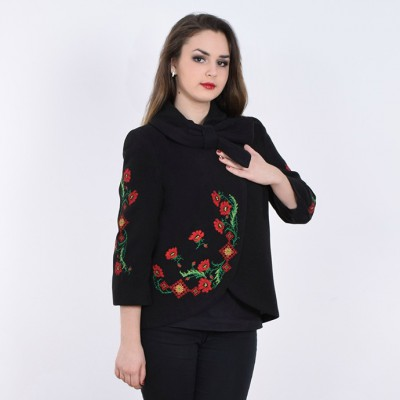 "Embroidered coat ""Flower Magic"" black"