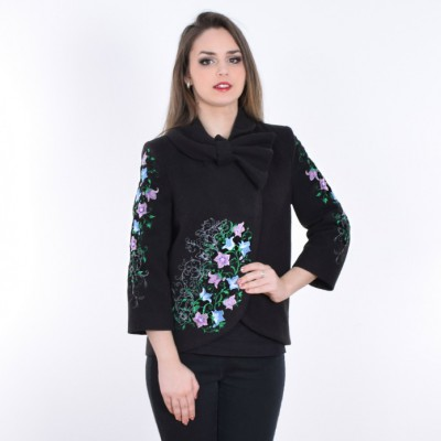 "Embroidered coat ""Bluebell"" black"
