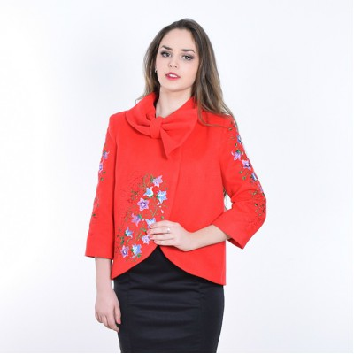 "Embroidered coat ""Bluebell"" red"