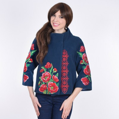 "Embroidered coat ""Luxurious Poppies"" blue"