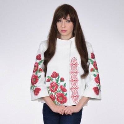 "Embroidered coat ""Luxurious Poppies"" white"