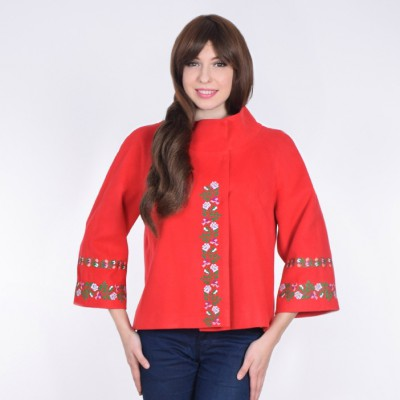 "Embroidered coat ""Flower Lace"" red"