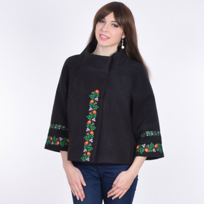 "Embroidered coat ""Flower Lace"" black"