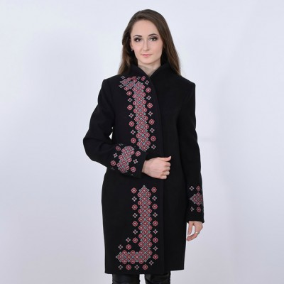 "Embroidered coat ""Chestnut"" black"
