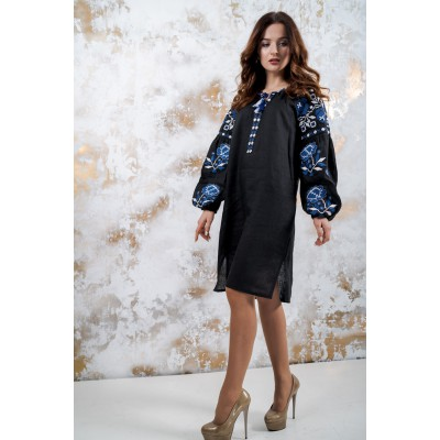 "Boho Style Ukrainian Embroidered Mini Dress ""Charm"" blue embroidery"